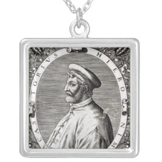 Medallion portrait of Girolamo Fracastoro Silver Plated Necklace
