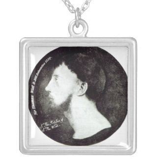 Medallion portrait silver plated necklace