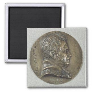 Medallion with a portrait of Jacques Lafitte Square Magnet