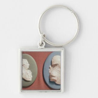 medallions of George IV Silver-Colored Square Key Ring