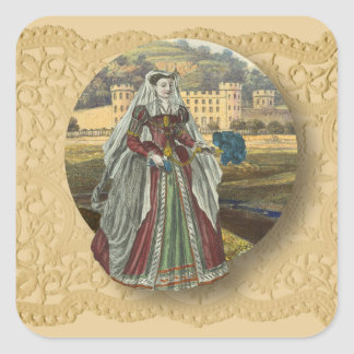 Medeival Castle and woman Square Sticker