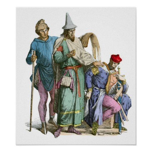 Medeival Jew and Knight - Period Costumes Print