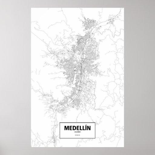 Medellín, Colombia (black on white) Poster