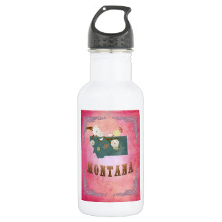 Medern Vintage Montana State Map- Candy Pink 532 Ml Water Bottle
