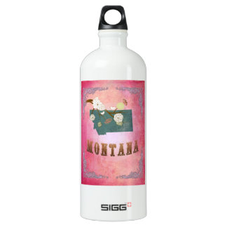 Medern Vintage Montana State Map- Candy Pink SIGG Traveller 1.0L Water Bottle