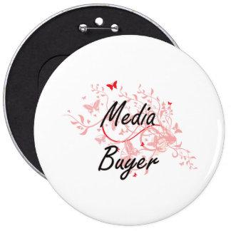 Media Buyer Artistic Job Design with Butterflies 6 Cm Round Badge