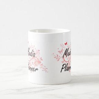 Media Planner Artistic Job Design with Butterflies Basic White Mug