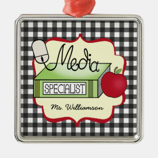 Media Specialist Book Apple & Computer Mouse Christmas Ornament
