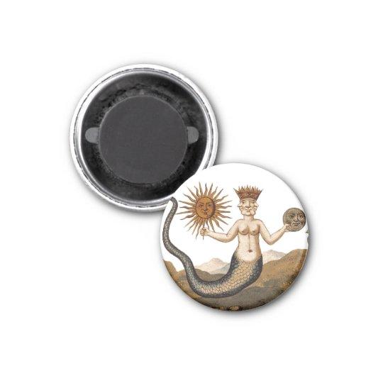 Mediaeval Alchemy Symbol - Merman with Sun and 3 Cm Round Magnet