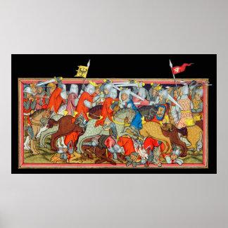 Mediaeval battle unique manuscript illumination poster