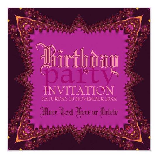 Mediaeval Bohemian Girl Pink Party Invitation