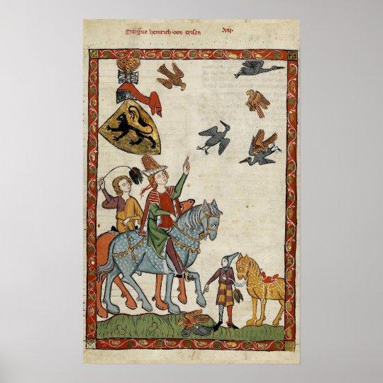 Mediaeval Boys on horseback with birds Poster