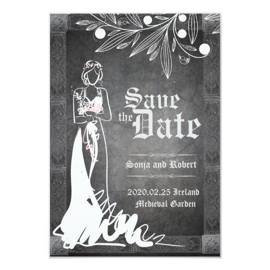Mediaeval Celtic Bride Stone Wedding Invitation
