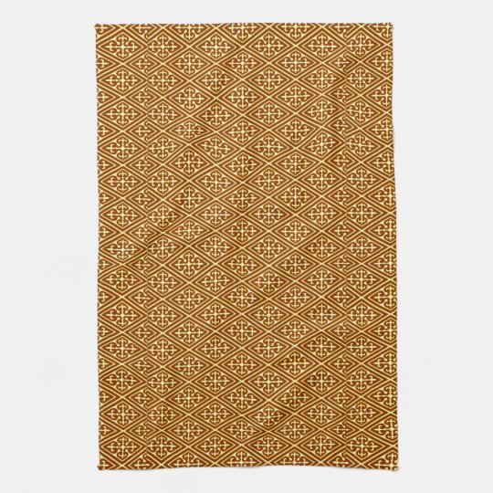 Mediaeval Damask Diamonds, copper and cream Tea Towel