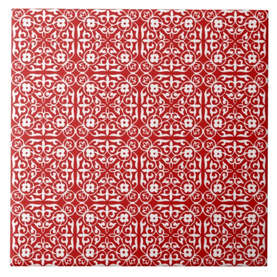 Mediaeval Damask pattern, red and white Tile