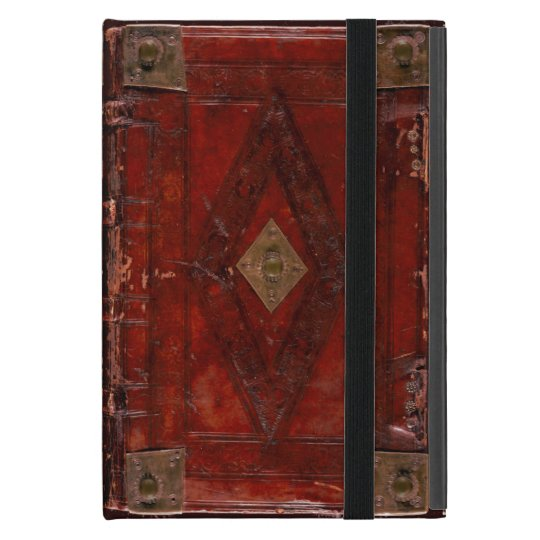 Mediaeval Engraved Red Leather Book Cover Design iPad
