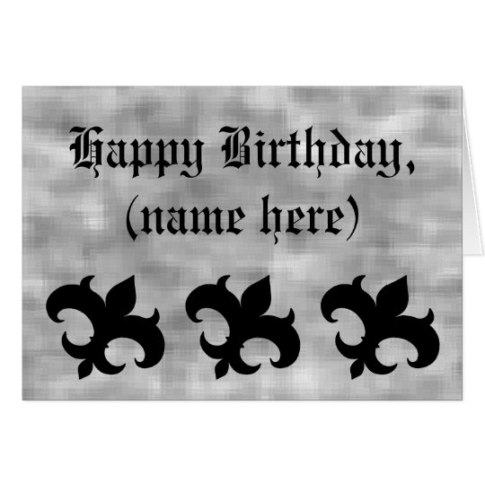Mediaeval fleur de lis on grey grunge birthday card