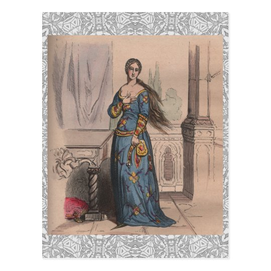 Mediaeval French fashion noble woman costume lace Postcard