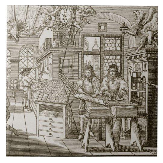 Mediaeval German printing press (engraving) Large Square Tile
