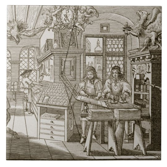 Mediaeval German printing press (engraving) Tile
