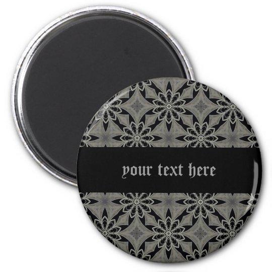 Mediaeval gothic flower customisable 6 cm round magnet