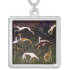Mediaeval Greyhounds Fine Art Silver Plated Necklace