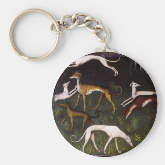 Mediaeval Greyhounds in the Deep Woods Key Ring