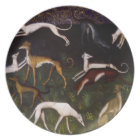 Mediaeval Greyhounds in the Deep Woods Plate