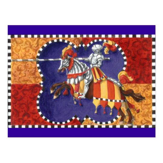 Mediaeval Knight Jousting Postcard