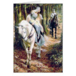 Mediaeval knight lady antique painting