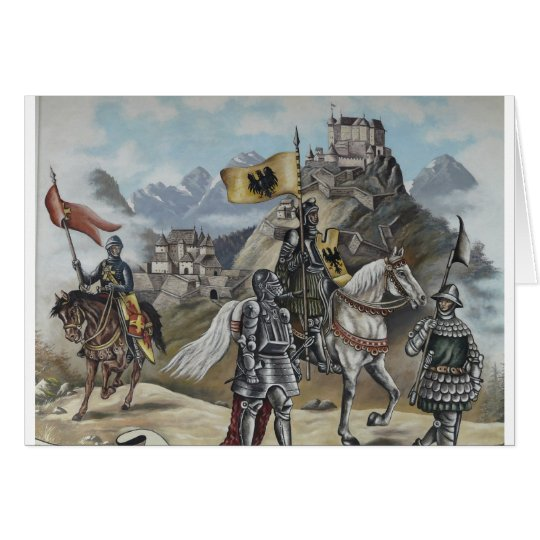 Mediaeval Knights Horses Lions Castle Party Card