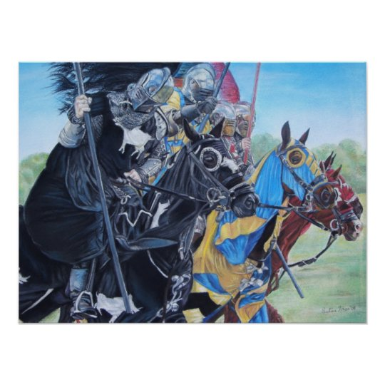 mediaeval knights jousting on horses historic art poster
