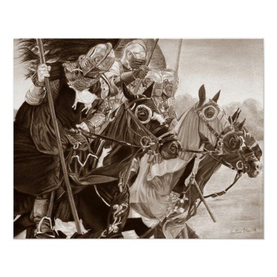 mediaeval knights jousting on horses historic art poster