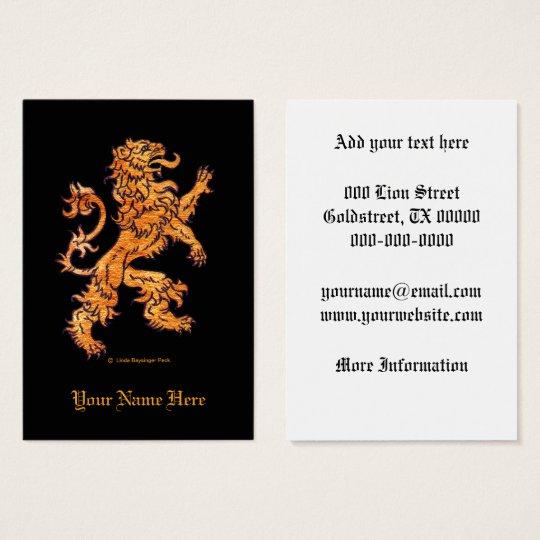 Mediaeval Lion on Black Business Card