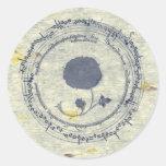 Mediaeval Manuscript Flower Round Sticker