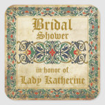 Mediaeval Manuscript Goth Bridal Shower Label Square Sticker