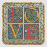 Mediaeval Manuscript Goth LOVE Wedding Label Square Sticker