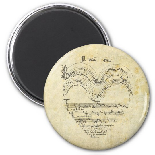 Mediaeval Manuscript Heart 6 Cm Round Magnet