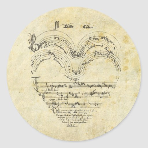 Mediaeval Manuscript Heart Round Sticker