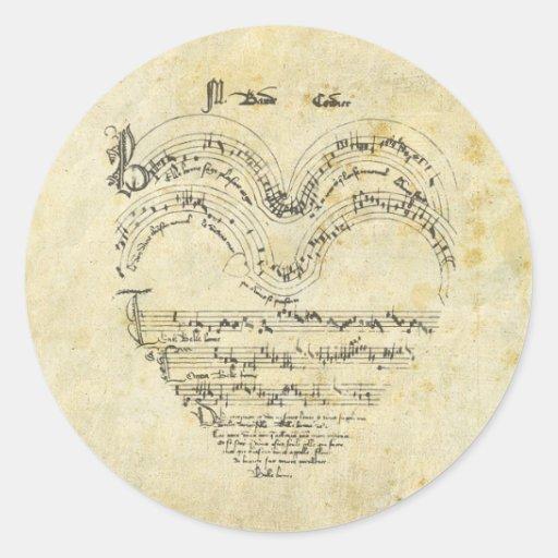 Mediaeval Manuscript Heart Round Stickers