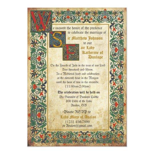 Mediaeval manuscript wedding invitation card zazzle mediaeval manuscript wedding invitation card stopboris Gallery