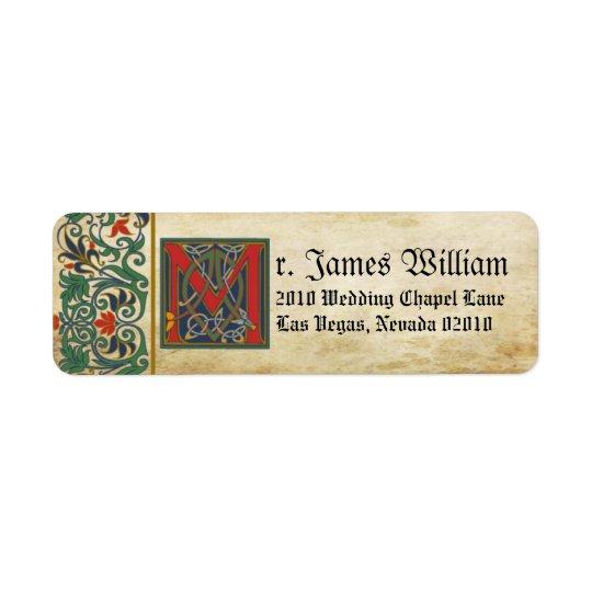 Mediaeval Manuscript Wedding Label