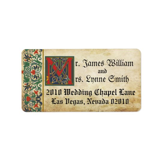 Mediaeval Manuscript Wedding Label Address Label