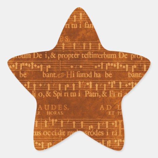 Mediaeval Music Manuscript Star Shape Star Sticker