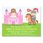 Mediaeval Princess and Knight Twins Birthday Party Card