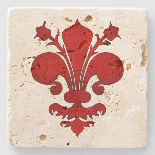 Mediaeval red fleur de lis symbol stone coaster