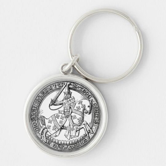 Mediaeval Rider Herald Silver-Colored Round Key Ring