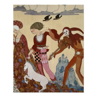 Mediaeval Scene by Georges Barbier Poster