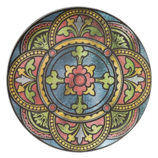 Mediaeval Stained Glass Plate
