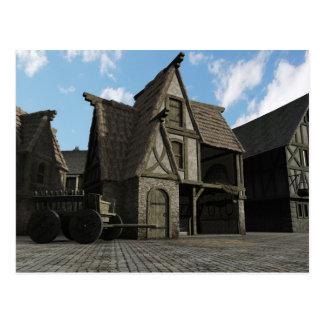 Mediaeval Street Scene - 3 Postcard